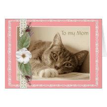 Tarjeta del día de madre con el gato