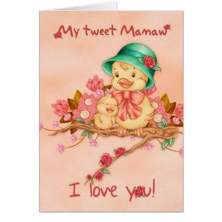 Tarjeta del día de madre con el pájaro del bebé y
