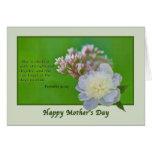 Tarjeta del día de madre con las flores rosadas y