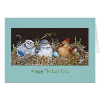 Tarjeta del día de madre con muchos pájaros en jer