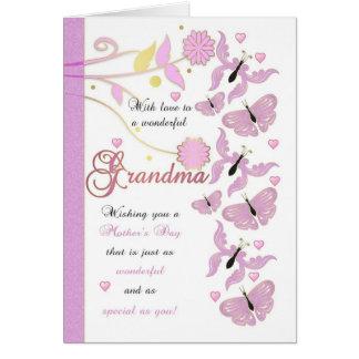 Tarjeta del día de madre de la abuela con las flor