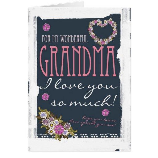 Tarjeta del día de madre de la abuela de moda y mo