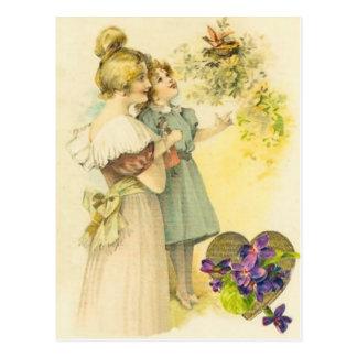 Tarjeta del día de madre de la madre y de la hija postales