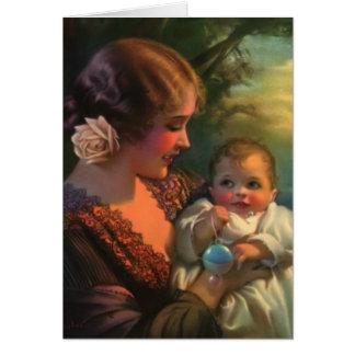 Tarjeta del día de madre de la madre y del bebé