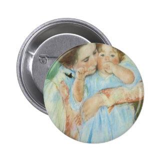 Tarjeta del día de madre de la madre y del niño de pin redondo 5 cm