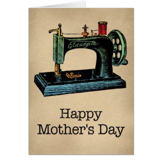 Tarjeta del día de madre de la máquina de coser de
