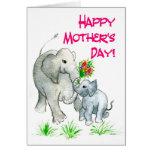"""Tarjeta del día de madre de los """"elefantes"""""""