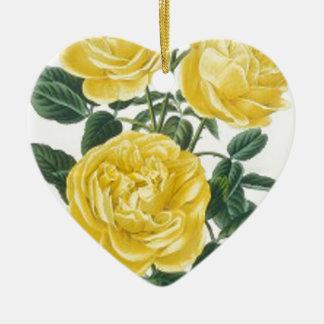 Tarjeta del día de madre de los rosas amarillos adorno navideño de cerámica en forma de corazón