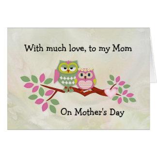 Tarjeta del día de madre de mamá Owl