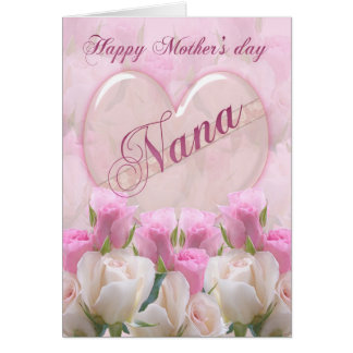 Tarjeta del día de madre de Nana con los rosas ros
