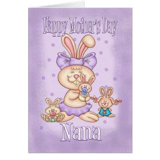 Tarjeta del día de madre de Nana - conejo lindo co
