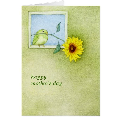 Tarjeta del día de madre del pájaro del girasol