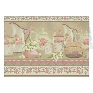 Tarjeta del día de madre del té del vintage