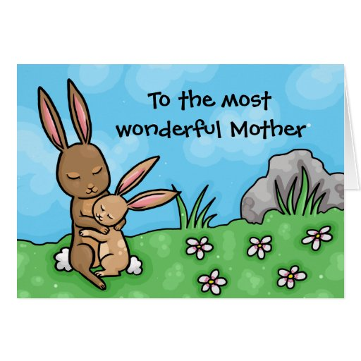 Tarjeta del día de madres del conejo de la madre y