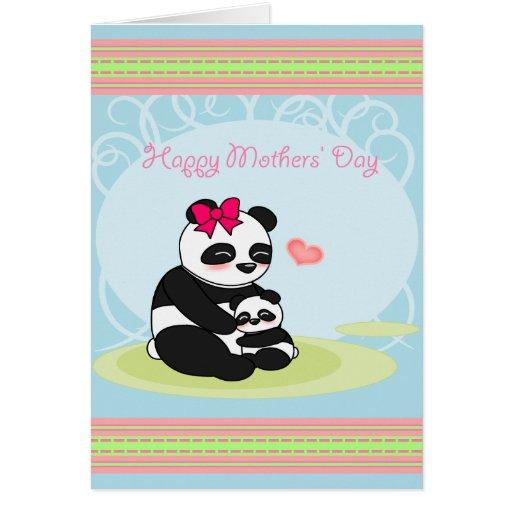 Tarjeta del día de madres del oso de panda