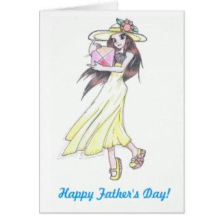 tarjeta del día de padre con el chica en sundress