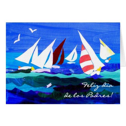 Tarjeta del día de padre de los barcos de navegaci