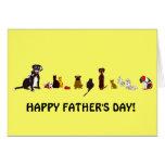 Tarjeta del día de padre de los perros y de los ga