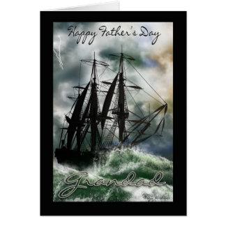 Tarjeta del día de padre del abuelo con la nave en
