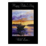 Tarjeta del día de padre del barco de vela