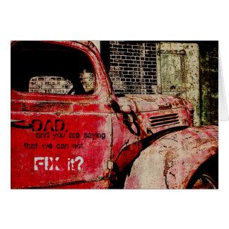 tarjeta del día de padre del coche del vintage