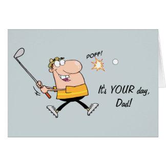 Tarjeta del día de padre del golf del dibujo anima