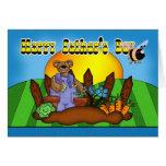 Tarjeta del día de padre - oso que cultiva un huer