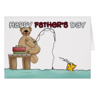 Tarjeta del día de padre - pesca del oso de peluch