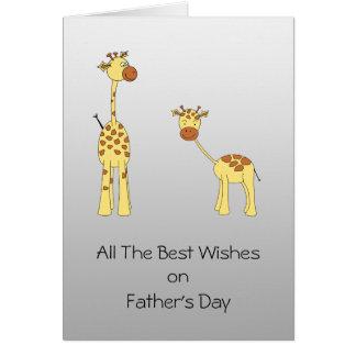 Tarjeta del día de padres del diseño de la jirafa