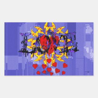 Tarjeta del día de San Valentín abstracta del amor Pegatina Rectangular