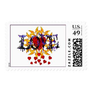 Tarjeta del día de San Valentín abstracta del amor Franqueo