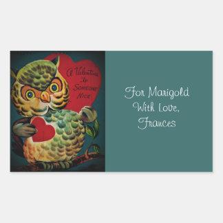 Tarjeta del día de San Valentín agradable del búho Pegatina Rectangular