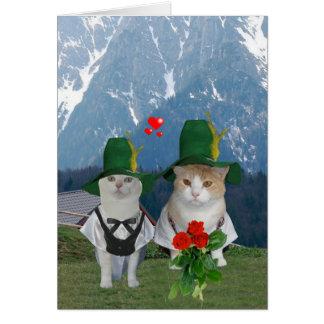 Tarjeta del día de San Valentín alemana del gato