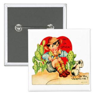Tarjeta del día de San Valentín alemana del vintag Pin Cuadrado