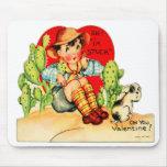 Tarjeta del día de San Valentín alemana del vintag Tapete De Ratones