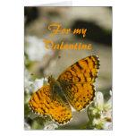 Tarjeta del día de San Valentín anaranjada de la m