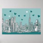 Tarjeta del día de San Valentín azulverde de NYC Poster