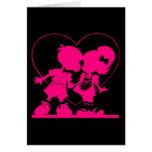 Tarjeta del día de San Valentín - beso en negro