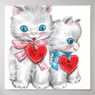 Tarjeta del día de San Valentín blanca de los gati Póster