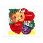 Tarjeta del día de San Valentín con sabor a fruta Tarjetas Postales