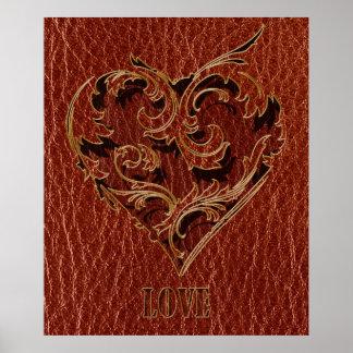 Tarjeta del día de San Valentín de la Cuero-Mirada Posters