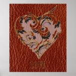 Tarjeta del día de San Valentín de la Cuero-Mirada Impresiones