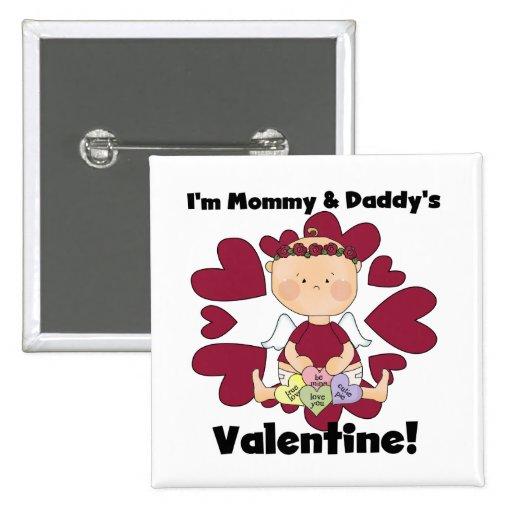 Tarjeta del día de San Valentín de la mamá y del p Pin Cuadrado
