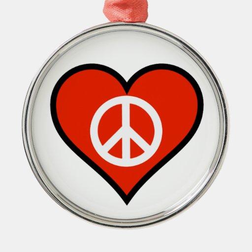 Tarjeta del día de San Valentín de la paz Adorno Navideño Redondo De Metal