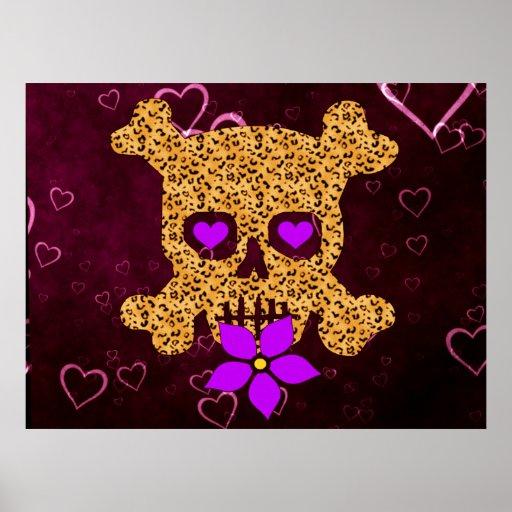 Tarjeta del día de San Valentín de la piel del leo Posters