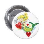 Tarjeta del día de San Valentín de la sirena del v Pin Redondo De 2 Pulgadas