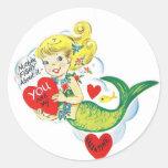 Tarjeta del día de San Valentín de la sirena Pegatina Redonda