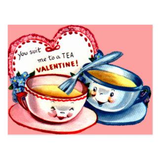 Tarjeta del día de San Valentín de la taza de té