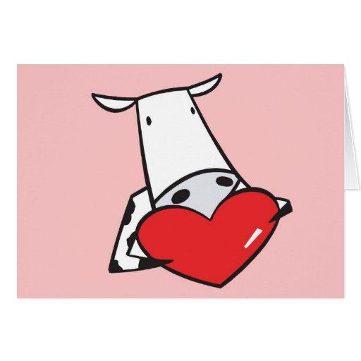 tarjeta del día de San Valentín de la vaca