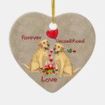Tarjeta del día de San Valentín de Labrador Adornos De Navidad